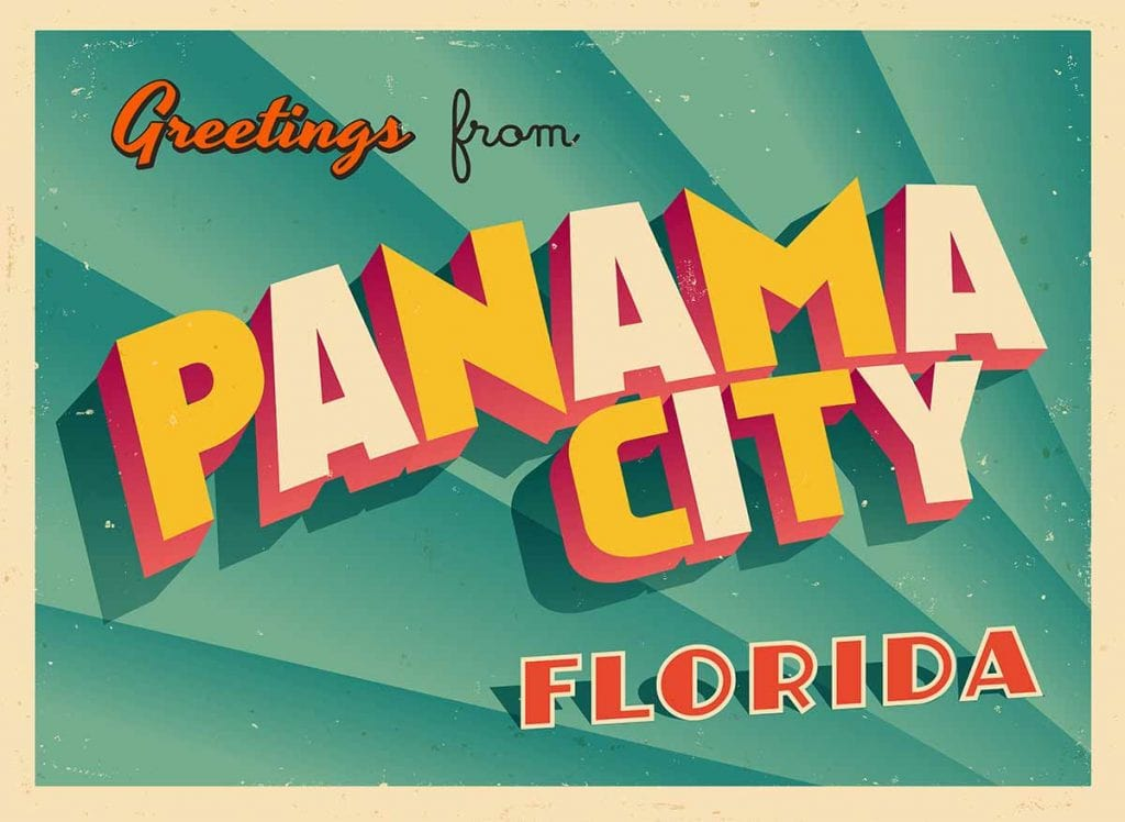 Image of postcard that says 'Greetings from Panama City Florida'